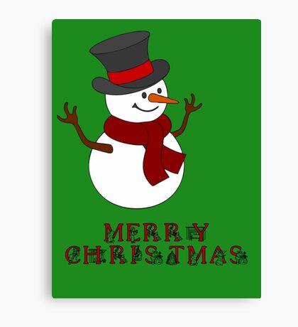 Merry Christmas Snowman clipart Canvas Print