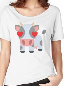 Cow Emoji Heart and Love Eyes Women's Relaxed Fit T-Shirt
