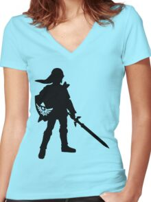 The Legend of Zelda Link Silhouette Women's Fitted V-Neck T-Shirt