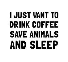 Coffee Animals Sleep Photographic Print