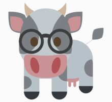 Cow Emoji Nerdy Spectacles Look One Piece - Short Sleeve