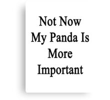 Not Now My Panda Is More Important  Canvas Print
