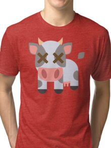 Cow Emoji Fainted and Passed Out Look Tri-blend T-Shirt
