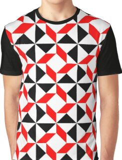 Red Black White abstract geometric pattern Graphic T-Shirt