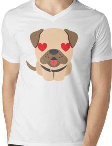 Bulldog Emoji Love and Heart Eyes Mens V-Neck T-Shirt