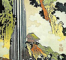'Waterfall' by Katsushika Hokusai (Reproduction) by Roz Abellera Art Gallery