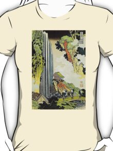'Waterfall' by Katsushika Hokusai (Reproduction) T-Shirt