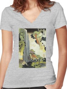 'Waterfall' by Katsushika Hokusai (Reproduction) Women's Fitted V-Neck T-Shirt