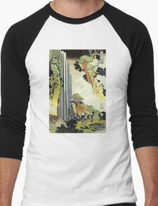 'Waterfall' by Katsushika Hokusai (Reproduction) Men's Baseball ¾ T-Shirt