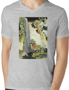 'Waterfall' by Katsushika Hokusai (Reproduction) Mens V-Neck T-Shirt