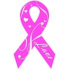 Pink Breast Cancer Ribbon With Love  by ArtVixen