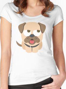 Bulldog Emoji Thinking Hard and Hmm Look Women's Fitted Scoop T-Shirt