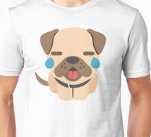 Bulldog Emoji Teary Eyes and Sad Look Unisex T-Shirt
