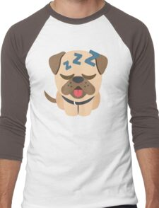 Bulldog Emoji Sleepy and ZZZ Face Men's Baseball ¾ T-Shirt