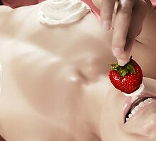 Smiling sexy nude woman eating strawberry with cream art photo print by ArtNudePhotos
