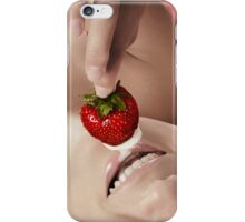 Smiling sexy nude woman eating strawberry with cream art photo print iPhone Case/Skin