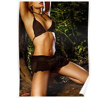 Sexy young woman tied to tree in the nature art photo print Poster