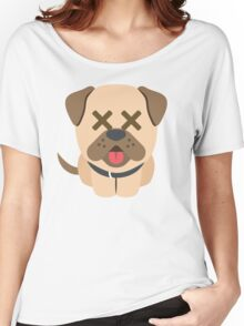 Bulldog Emoji Fainted and Passed Out Look Women's Relaxed Fit T-Shirt