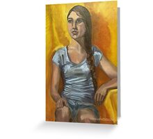 Portrait of a woman with long brown hair in a plait Greeting Card