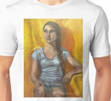 Portrait of a woman with long brown hair in a plait Unisex T-Shirt