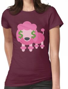 Pink Poodle Dog Emoji Money Face Womens Fitted T-Shirt