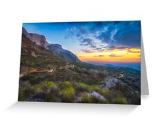 Cabecon del Oro trails at sunset Greeting Card