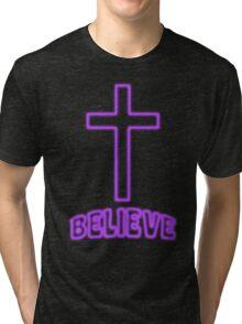 Jesus Christ Son of God Lord Believe Tri-blend T-Shirt