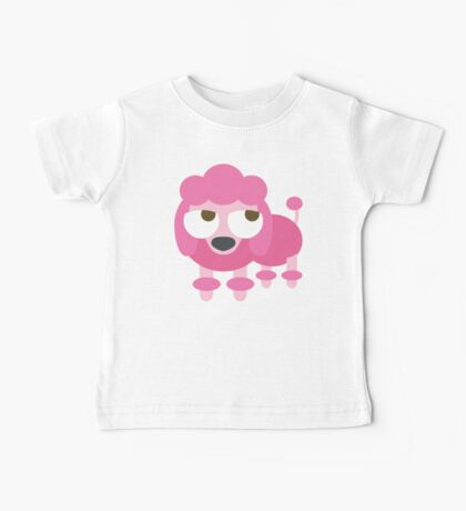 Pink Poodle Dog Emoji Thinking Hard and Hmm Face Baby Tee