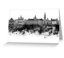 Antwerp skyline in black watercolor Greeting Card