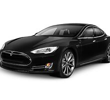 Black Tesla Model S red luxury electric car art photo print by ArtNudePhotos
