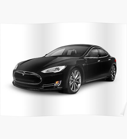 Black Tesla Model S red luxury electric car art photo print Poster