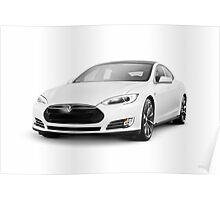 White Tesla Model S luxury electric car art photo print Poster