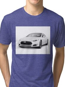 White Tesla Model S luxury electric car art photo print Tri-blend T-Shirt