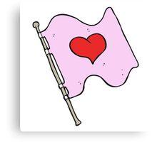cartoon love heart flag Canvas Print