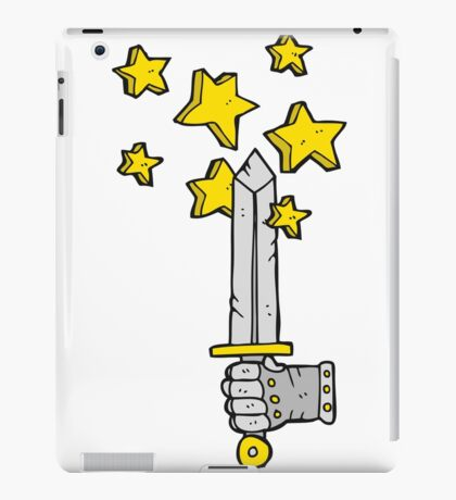 cartoon hand holding magic sword iPad Case/Skin