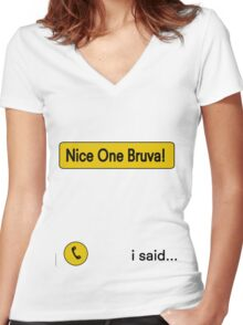 Nice One Brava - Human Traffic  Women's Fitted V-Neck T-Shirt