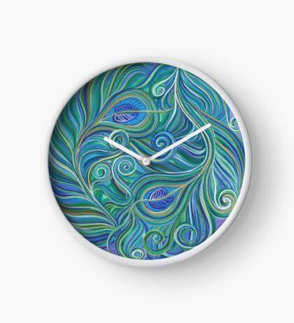 Swirling Elegant Peacock Feathers  Clock