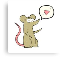 cartoon mouse in love Canvas Print