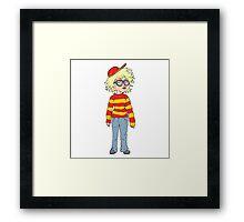 cartoon geeky girl Framed Print