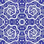White helices on ultramarine, abstract hand drawn pattern by clipsocallipso