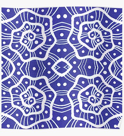 White helices on ultramarine, abstract hand drawn pattern Poster