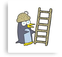 cartoon penguin with ladder Canvas Print