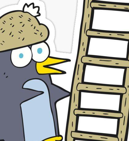cartoon penguin with ladder Sticker