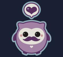 Cute Mustache Owl Kids Tee