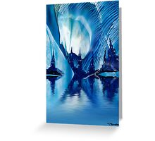 Subterranean Castles wax painting in blue Greeting Card