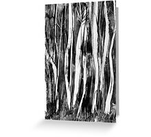 Spooky trees wax painting in black and white by UK artist Greeting Card