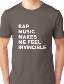 Rap Music Makes Me Feel Invincible Powerful Motivation Running T-Shirt Unisex T-Shirt
