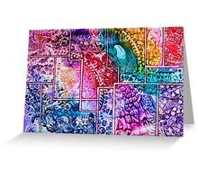 Tapestry art multi colour pattern in wax Greeting Card