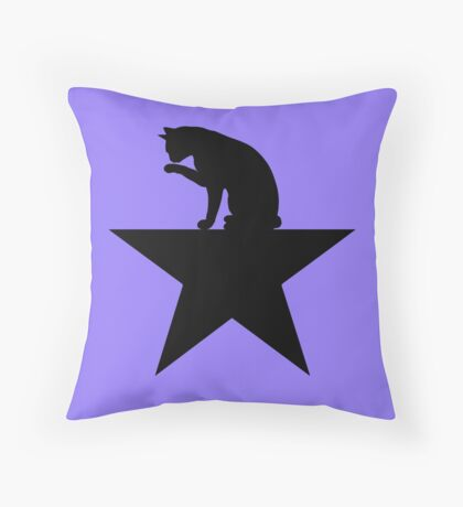 Hamilcat Black Cat Design for Alexander Hamilton fans Throw Pillow