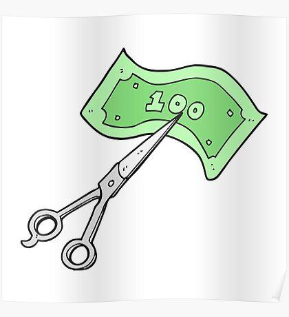 cartoon scissors cutting money Poster